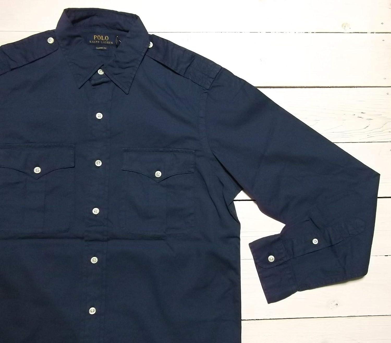 RALPH LAUREN Polo Mens Classic Fit Button-Down Safari Shirt Navy Blue