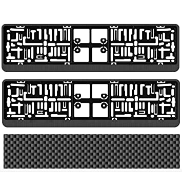 2 x CHECKERED EFFECT Registration Number Plate Surround Holder Frame Mitsubishi
