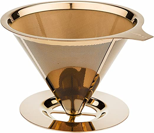 Tzuki vierta sobre cafetera goteo filtro de café permanente cono ...