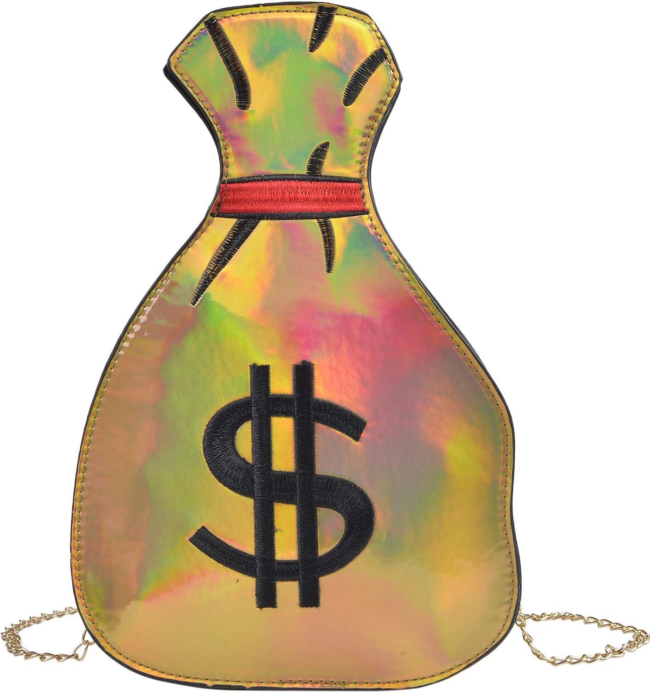 QZUnique Women's Big Capacity PU Hologram Laser Money Bag Design Purse Handbags Crossbody Messenger Shoulder Bag
