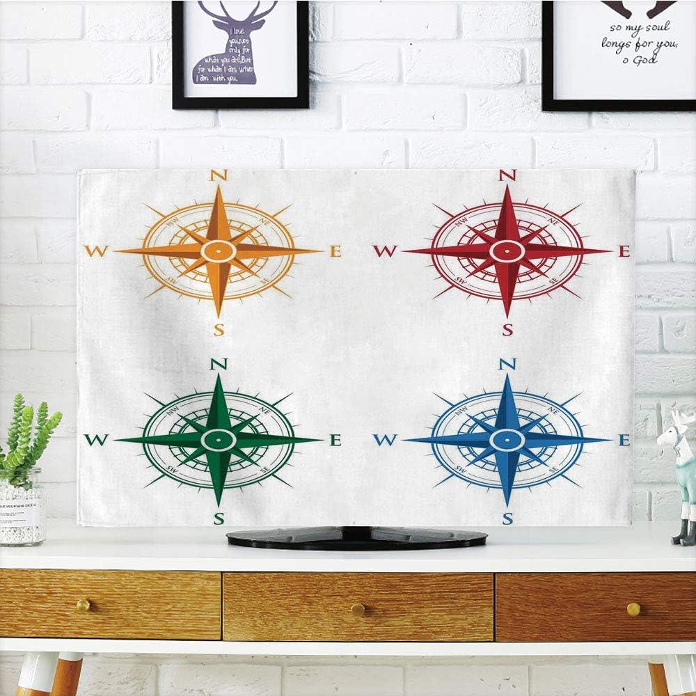 Cubierta de polvo para televisor LCD, brújula, diseño antiguo de Windrose para viajes, diseño de Jouney con temática de Sea Life Marine Discovery Art Decorativo, color marrón claro, diseño de impresión 3D