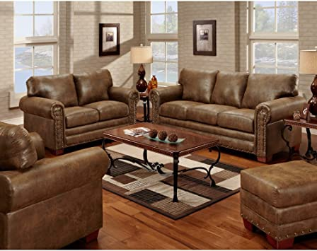 Amazon Com American Furniture Classics Model Buckskin 4 Piece Set Sofa Group Pinto Brown Furniture Decor