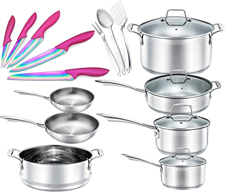 Chef s Star 19 Piece Stainless Steel Pot Pans Set – Professional Chef Grade Induction Ready Cookware Set – Impact Bonded Aluminium Technology – Bonus Pink Knife Set