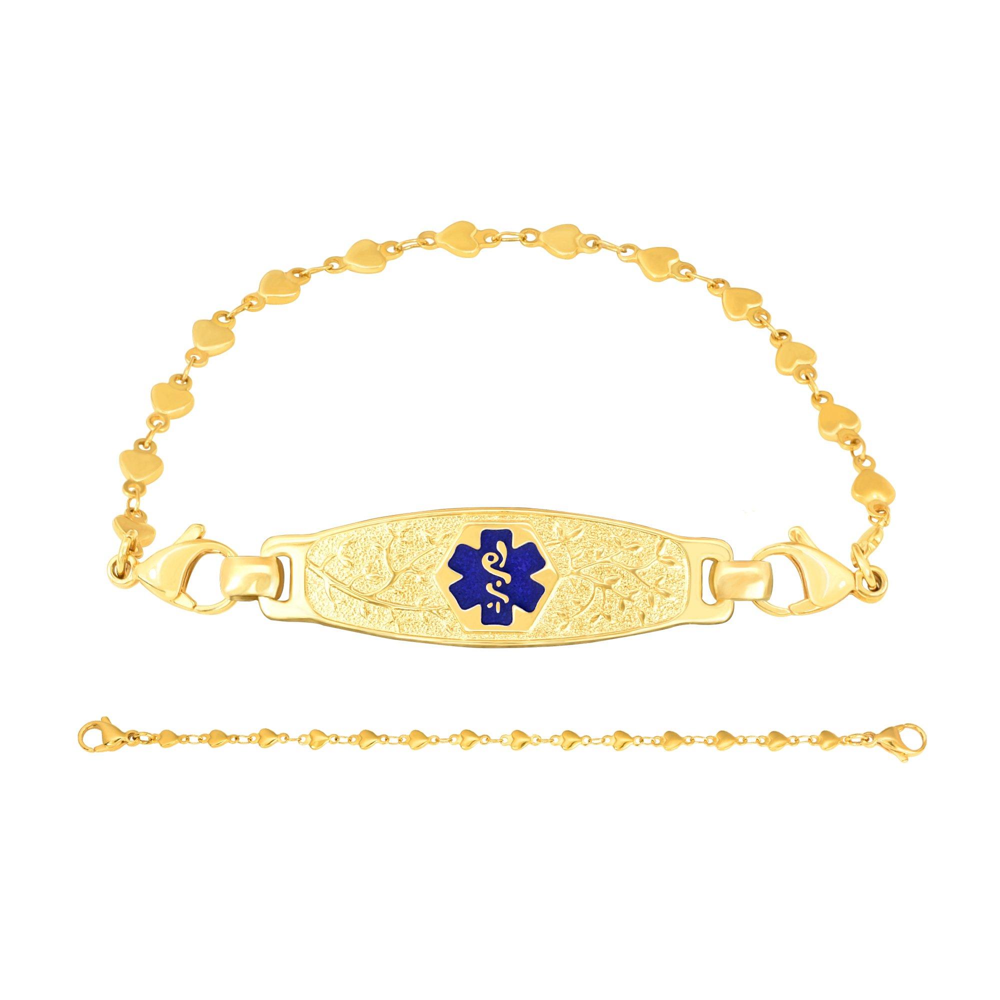 Divoti Deep Custom Laser Engraved PVD Gold Elegant Olive Medical Alert Bracelet -PVD Gold Heart Link-TP Blue-7.0''