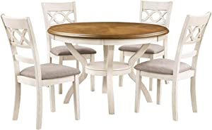 New Classic Furniture Cori 5-Piece Dining Table Set, Bisque/Brown