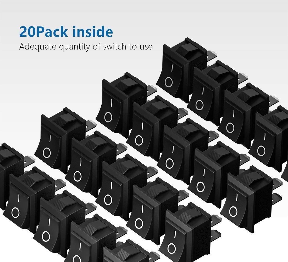 Mimoo 20pcs On Off Rocker Switch Mini Boat 10a 125v 6a 250v 5pcs Lot Push Button 3a 1 Circuit Non Locking Spst Press Toggle For Car Auto Household Appliances