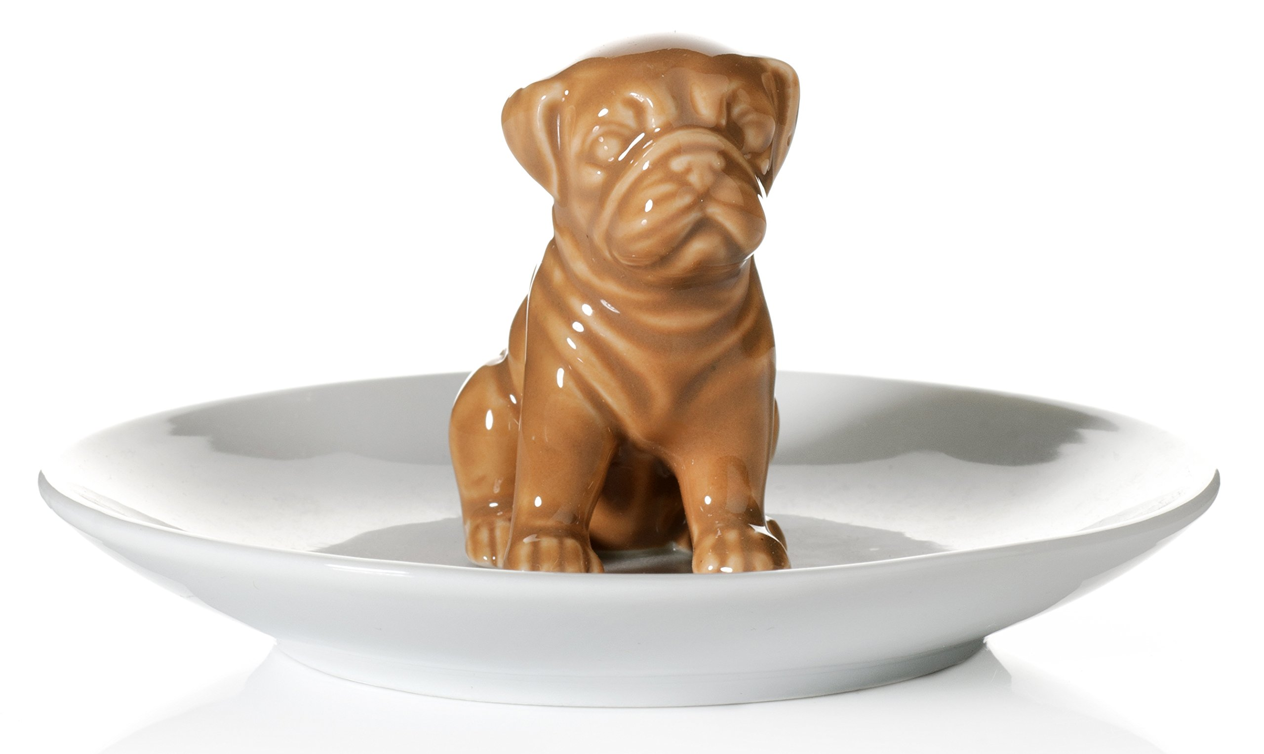 Beth Marie Luxury Boutique Pug Dog Ring Holder, Beautiful Ceramic Engagement and Wedding Ring Holder, Size: 4'' W X 2.5'' H X 4'' D