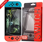Orzly Glass Screen Protectors compatible with Nintendo Switch - Premium Tempered