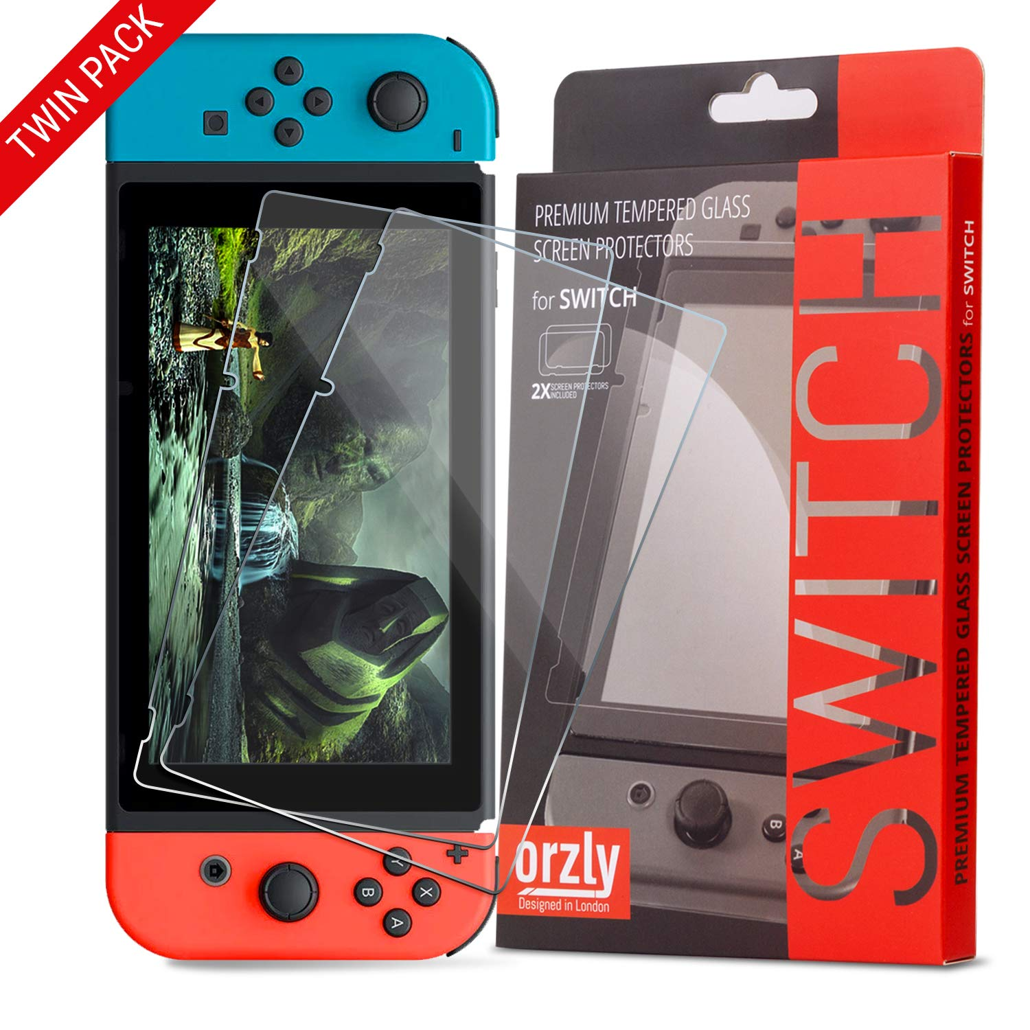 sports shoes 50272 0a13a Orzly Glass Screen Protectors compatible with Nintendo Switch - Premium  Tempered Glass Screen Protector TWIN PACK [2x Screen Guards - 0.24mm] for  6.2 ...