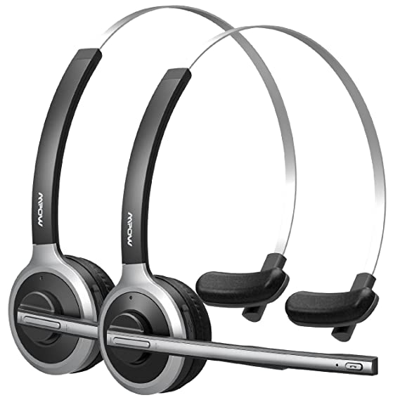 bb9fbb4f147 Mpow (2-Pack) V4.1 Bluetooth Headset/Truck Driver Headset,. Roll over image  to zoom in