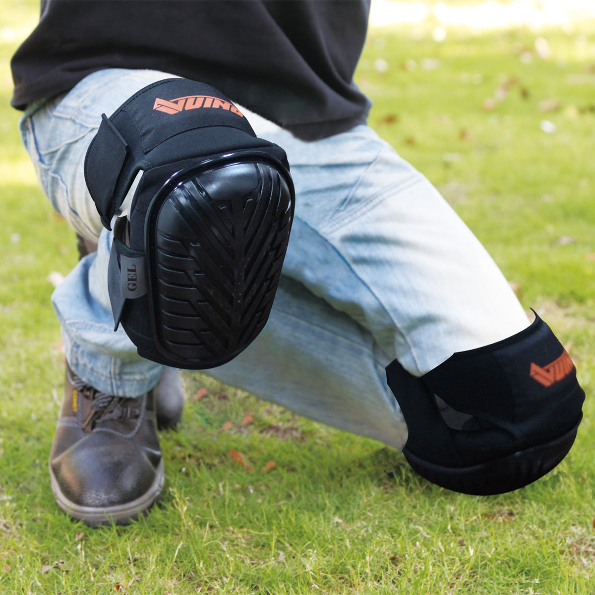VUINO Professional Heavy Duty EVA Foam Padding Knee Pads with Comfortable Gel Cushion and Adjustable Straps for Working, Gardning, Cleaning, Flooring, Tiling and Construction (Black) by Ningbo Xinweinuo Fanghuyongpin Co.,Ltd (Image #6)