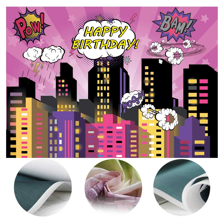 SJOLOON 7X5FT Superhero Cityscape Photography Backdrop Super Hero City Photo Background Male Kids Birthday Party Decorations Vinyl Studio Props 11475