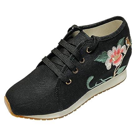Mealeaf ❤️ Zapatos de Lona para Mujer, Retro, Bordados, con ...