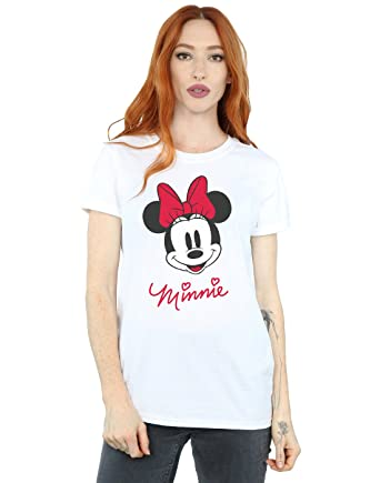 60ac7bef8 Amazon.com  Disney Women s Minnie Mouse Face Boyfriend Fit T-Shirt  Clothing