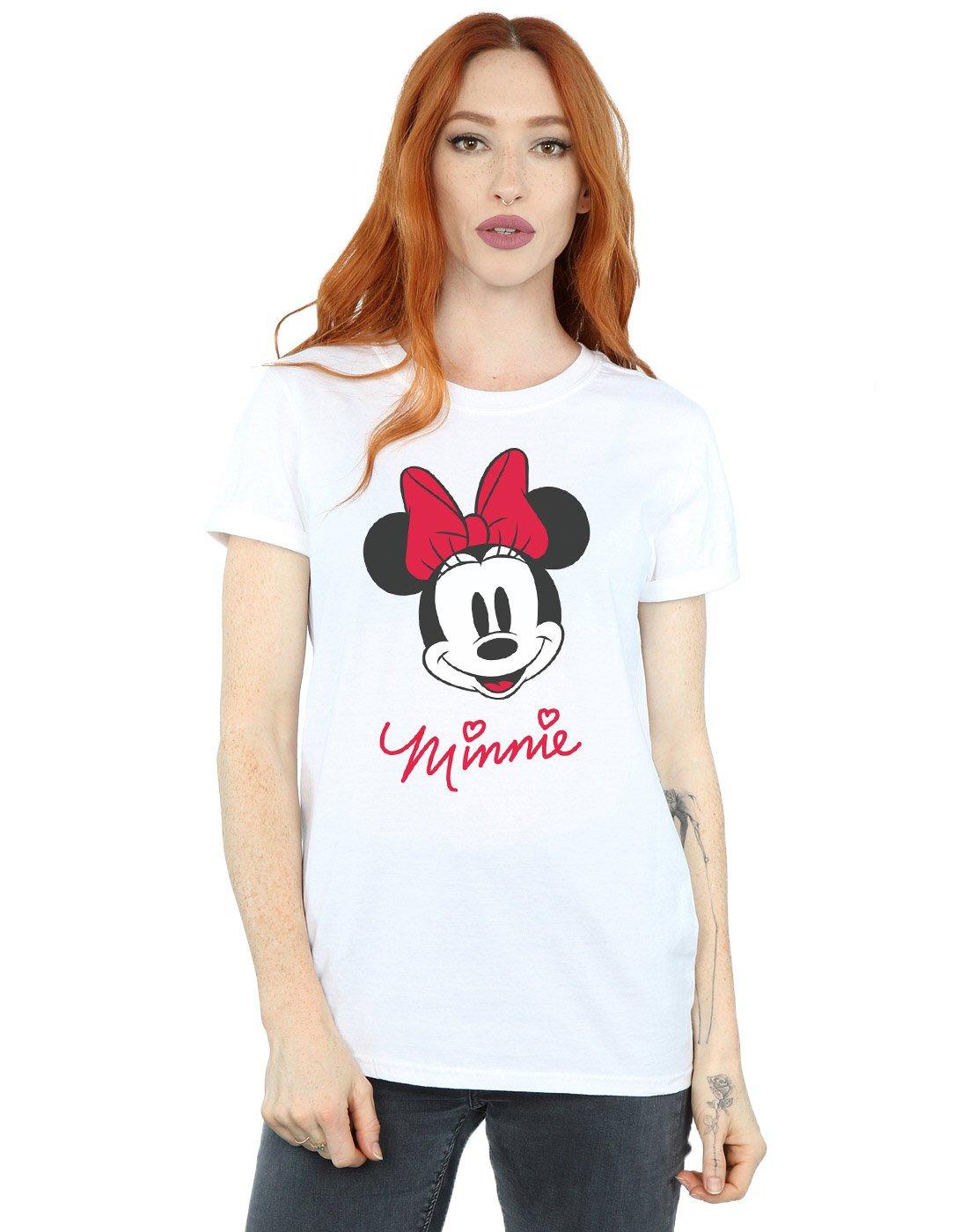 Disney Women's Minnie Mouse Face Boyfriend Fit T-Shirt X-Large White