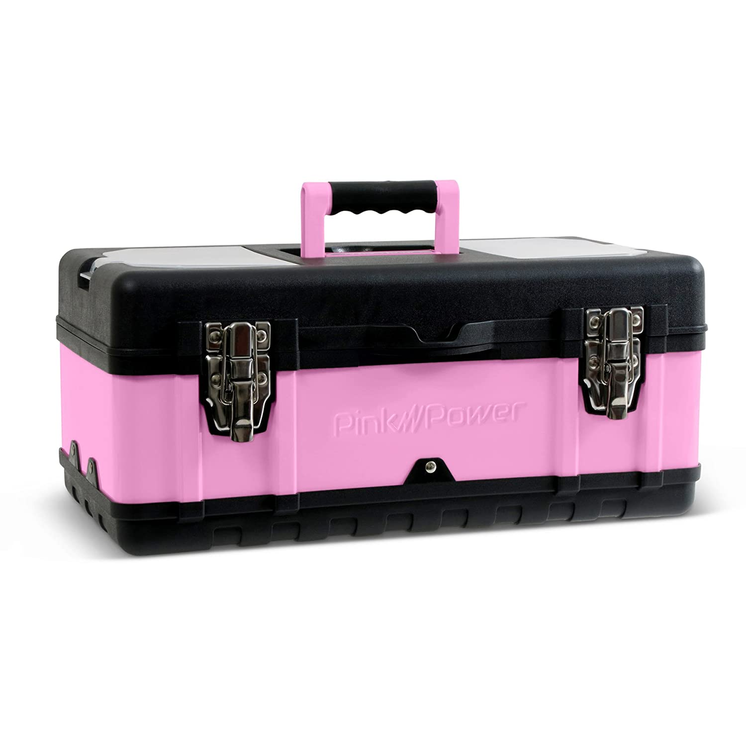 "Pink Power 18"" Portable Aluminum Tool Box for Tool or Craft Storage- Locking Lid and Extra Storage Compartments PP18TB"