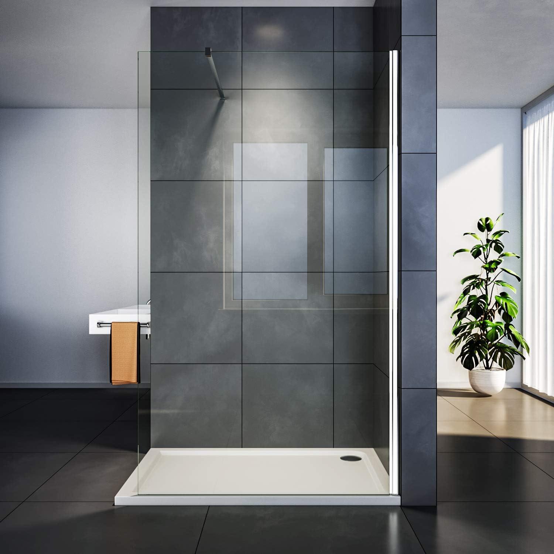 SIRHONA - Mampara de ducha italiana, acero inoxidable, 8 mm, cristal templado: Amazon.es: Bricolaje y herramientas