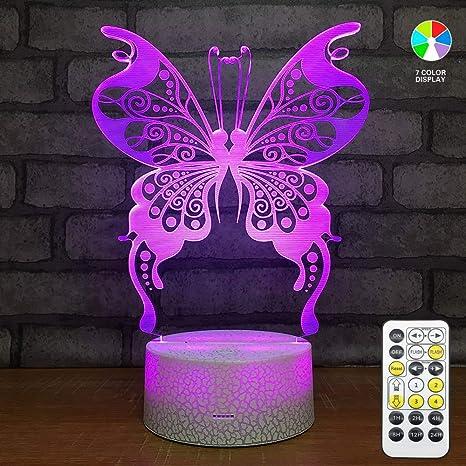 Amazon.com: Butterfly - Lámpara de noche 3D, iluminación LED ...