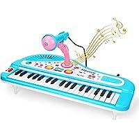 CestMall Piano electrónico infantil, 37 teclas, teclado para niños, piano con micrófono, minipiano electrónico, juguete…