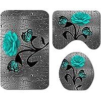 Gigicloud Flower Butterfly Printing Shower Curtain/Bathroom Mat Set Carpet Floor Mat Green 3pcs mat