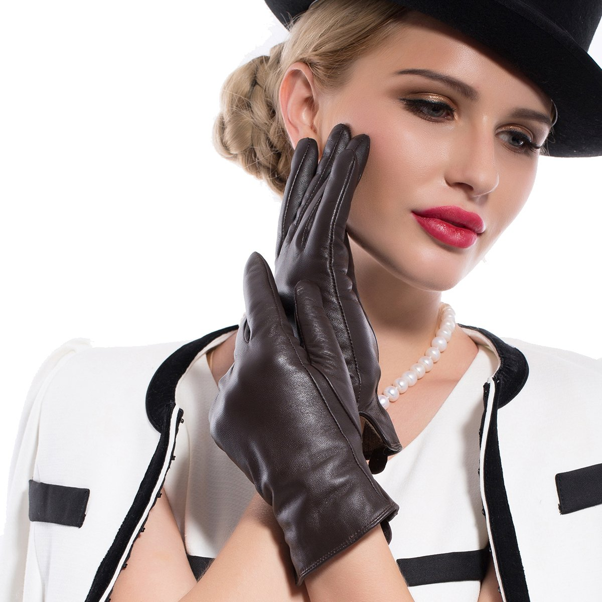 Kursheuel 14 colors Cashmere Women Lady's Genuine lambskin soft leather driving Gloves KU141 (XL, Brown(2014 winter new /Cashmere lining / Touchscreen available))