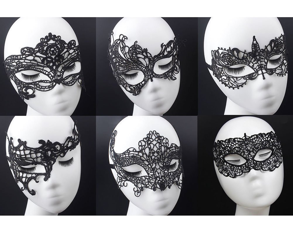 e2aadcf29dd48 Amazon.com: Geek-M Women's Black Lace Mask Party Ball Masquerade Fancy Dress  Masks Pack of 6: Toys & Games