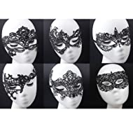 Geek-M Women's Black Lace Mask Party Ball Masquerade Fancy Dress Masks Pack of 6