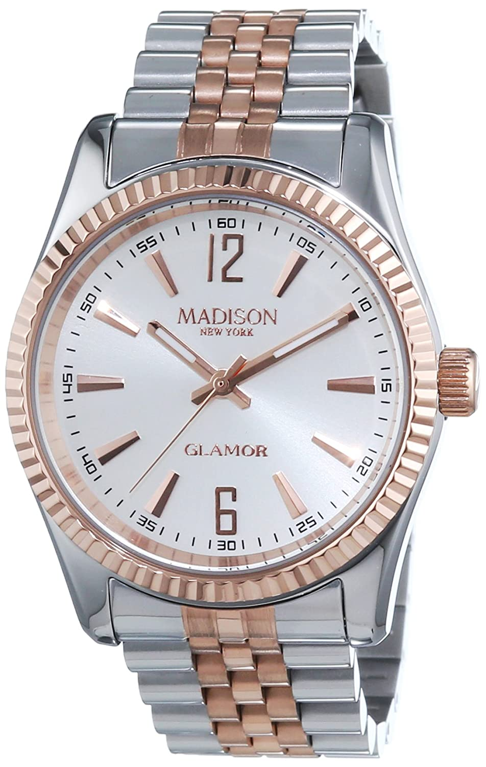 MADISON NEW YORK Unisex-Armbanduhr GLAMOR Analog Quarz Edelstahl beschichtet L4791C3