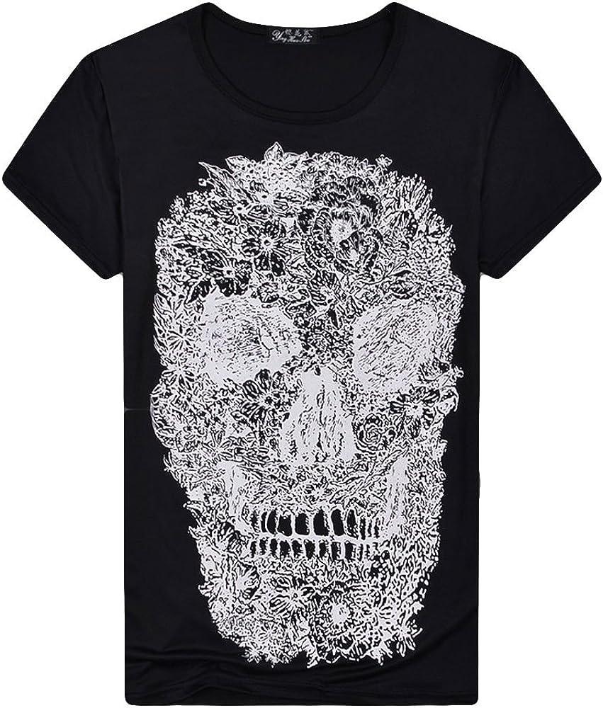 Qinnyo Mens T Shirts for Men Tops Skull Printing Graphic Short Sleeve Sweatshirt Plus Size Tees Blouse M-5XL