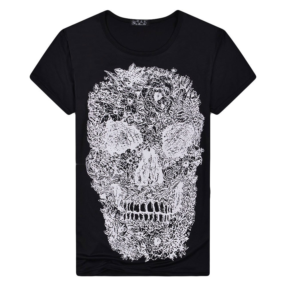 Mens T Shirts Graphic Men Cool Skull 3D Printing Short Sleeve Shirts Casual Graphic T-Shirt Tank Tops Beach Tees Blouse (Black-2, M)