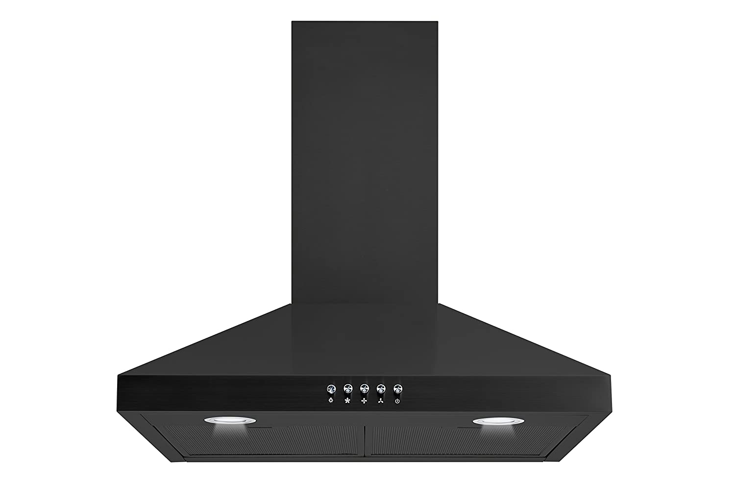 "Winflo New 30"" Convertible Black Color Wall Mount Range Hood with Aluminum Mesh filter, Ultra bright LED lights and Push Button 3 Speed Control"
