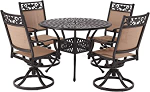 "Laurel Canyon Outdoor Dining Set, 5 Piece Cast Aluminum Furniture, 4 Patio Swivel Chairs, 42"" Round Table with 1.97"" Umbrella Hole for Yard Garden Deck, Dark Brown"