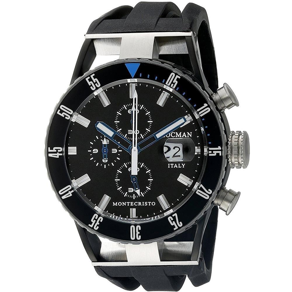Locman Italy Men's 0512KNKBBKNKSIK Montecristo Professional Divers Chronograph Analog Display Quartz Black Watch