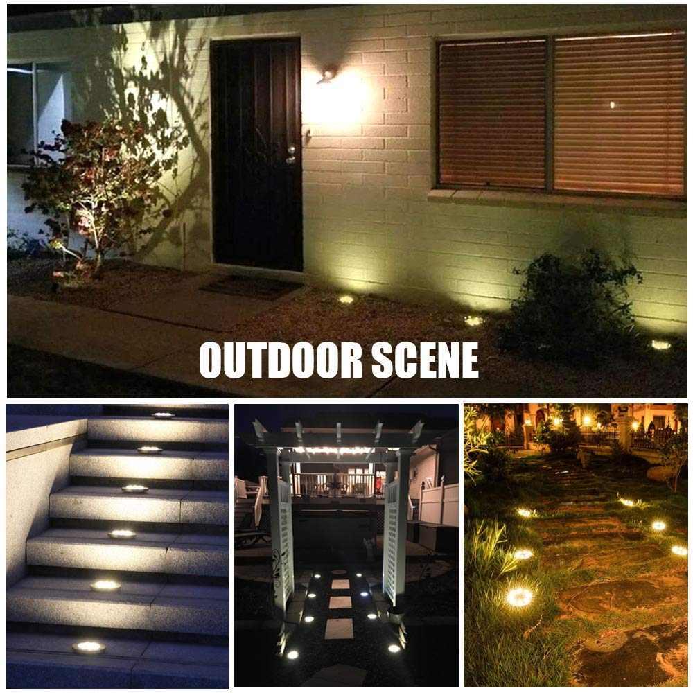Solar Ground Lights, 8 LED Solar Disk Lights Outdoor Waterproof for Garden Yard Patio Pathway Lawn Driveway Walkway- Warm White (8 Pack) by NICPAY (Image #6)
