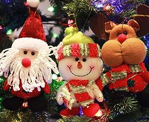 Sleetly Ornaments for Christmas Tree, Plush, Classic Colors, Set of 6, (Snowman/Santa/Reindeer)