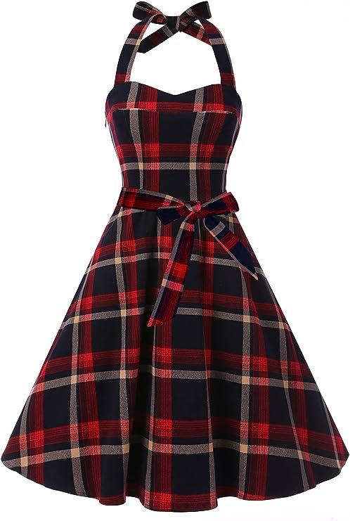 vestido clásico con diseño de lunares de mujer Audrey Vestido 1950s Halter Retro Vestido De Cóctel