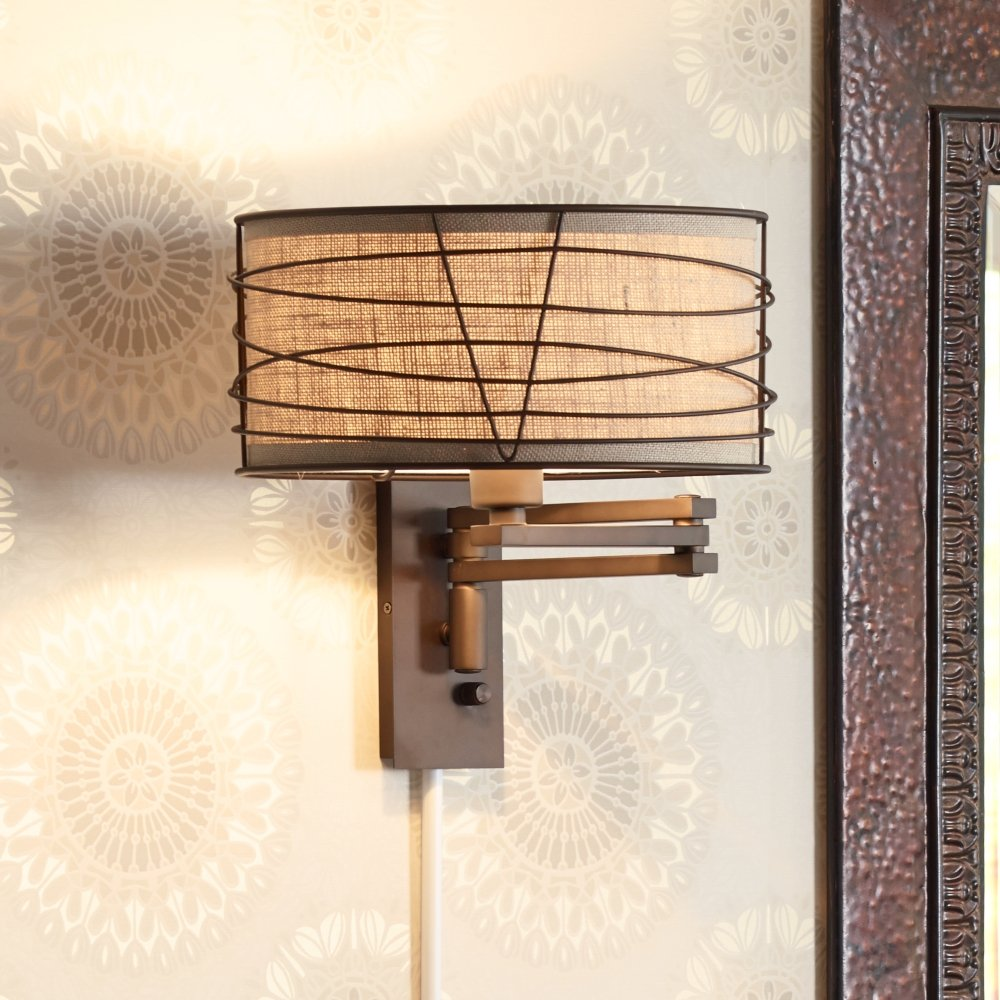 franklin iron works marlowe bronze metal swing arm wall lamp amazoncom