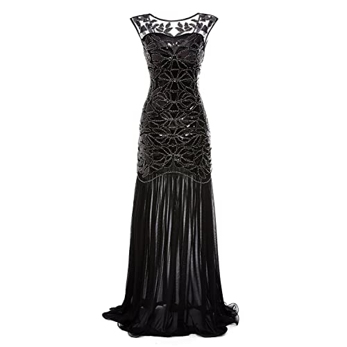 gastbypty Womens 1920s Black Sequin Gatsby Maxi Long Evening Prom Dress