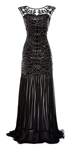 gastbypty Women's 1920s Black Sequin Gatsby Maxi Long Evening Prom Dress