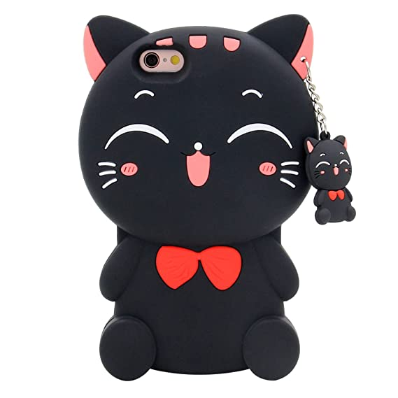 huge discount 85728 9f259 iPhone 6s Case, MC Fashion 3D Lucky Fortune Cat Kitty with Cute Bow Tie  Silicone Rubber Phone Case Cover for Apple iPhone 6/6s (Black)