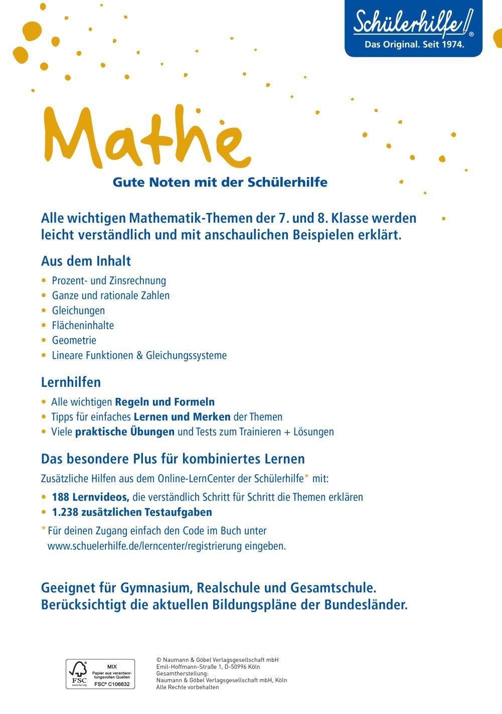 XXL-Lernbuch Mathe 7./8. Klasse: 9783625181484: Amazon.com: Books