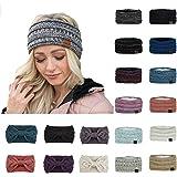 Women Winter Warm Knit Ear Warmer Headband Soft Stretchy Thick Fuzzy Head Wrap