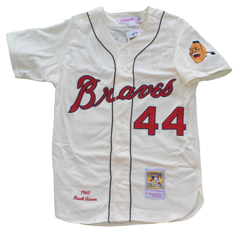 online retailer 28b2a 4e543 Hank Aaron Milwaukee Braves Mitchell & Ness MLB Authentic ...