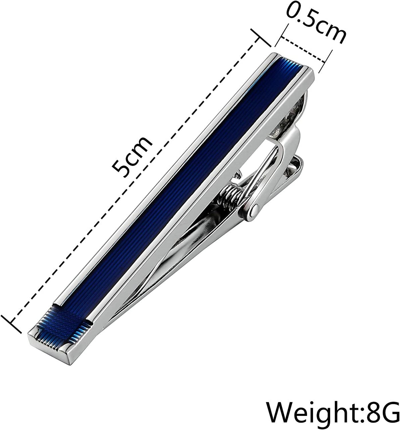KnSam Stainless Steel Tie Clips for Mens Rectangle Stripe Blue Tie Bar