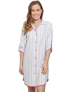 Cyberjammies 3807 Women s Erica White Striped Sleep Shirt Nighty Nightshirt 755ee3b86