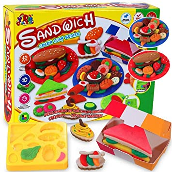 Kids Sandwich Food Making Modelling Colour Clay Set Moulds /& Accessories
