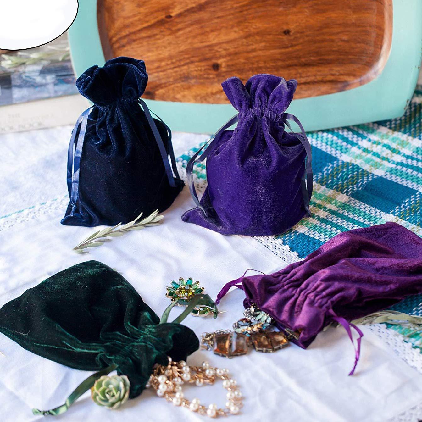 Huji Luxurious Cloth Velvet Soft Tarot Magic Drawstring Bags Jewelry Pouch Bags Tarot Card Size Dice Bags Bundle of 4: Moss Green 1, Pack of 4 Purple and Indigo 6 X 9 Navy Blue