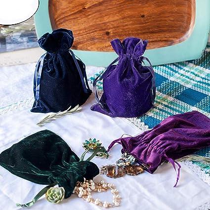 Amazon.com: Huji - Bolsas de terciopelo de lujo, con cordón ...