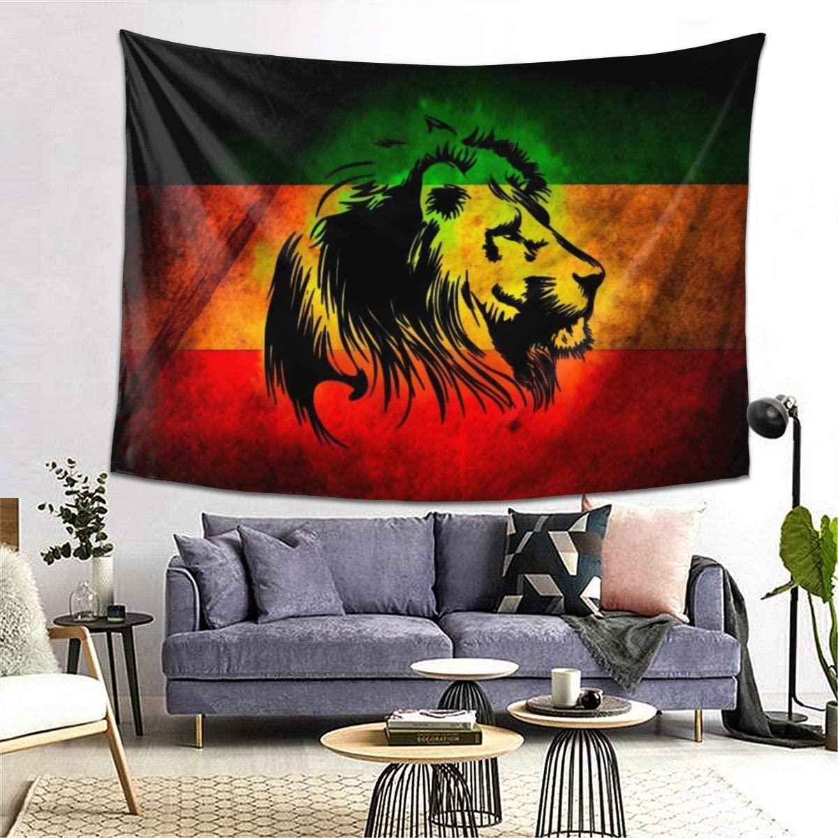 BAIFUMEN Rasta Lion Reggae Tapestry for Dorm Bedroom Living Room Home Decor Decorative Tapestry Wall Hanging Tapestries with 80x60 Inch