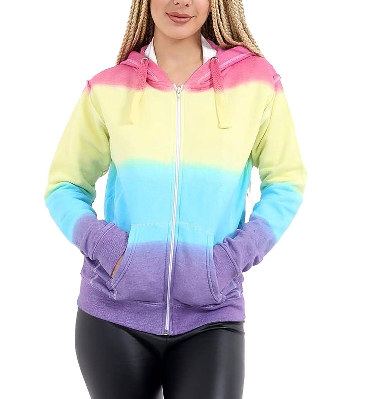 Rimi Hanger Womens Rainbow Tie Dye Zip Up Hoodie Sweatshirt Top